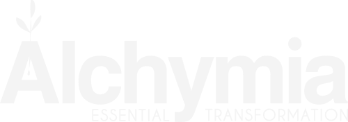 Logo Alchymia blanco leyenda